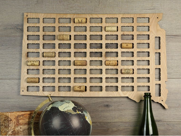 Choose Your State Wine Cork Map by Torched Products - 5
