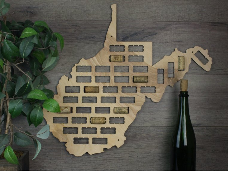 Choose Your State Wine Cork Map by Torched Products - 16