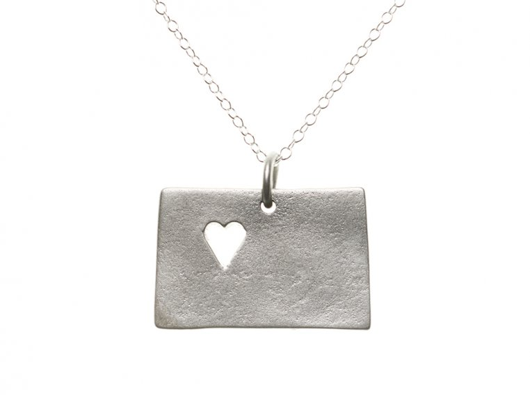 State Love Pendant Necklace by Precious Metal Prints - 9