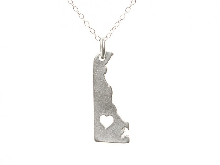 State Love Pendant Necklace by Precious Metal Prints - 11