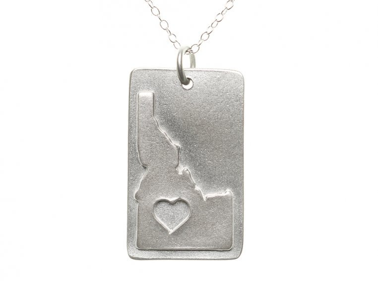 State Love Pendant Necklace by Precious Metal Prints - 15