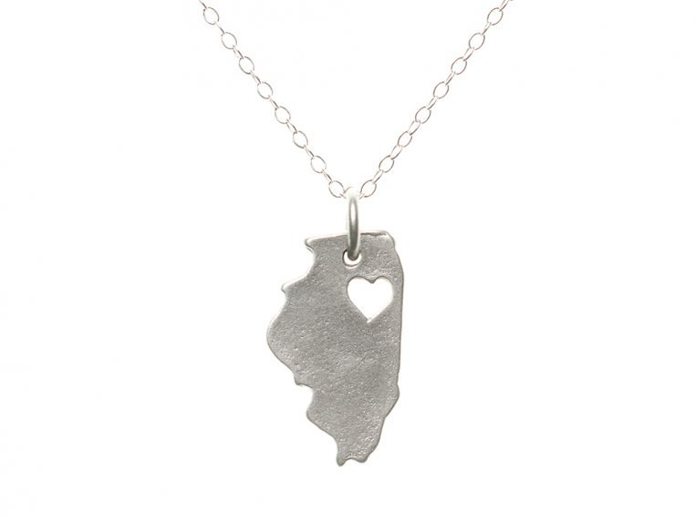 State Love Pendant Necklace by Precious Metal Prints - 16