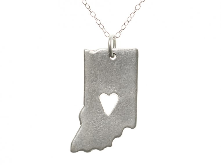State Love Pendant Necklace by Precious Metal Prints - 17