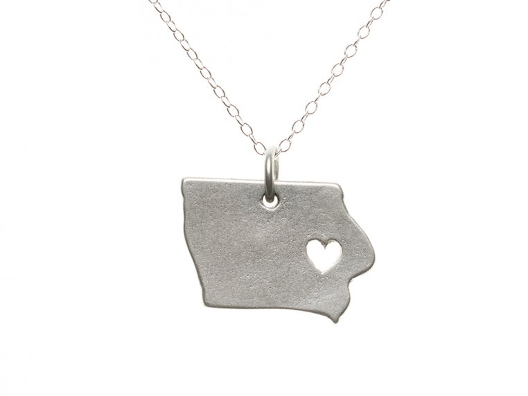State Love Pendant Necklace by Precious Metal Prints - 18