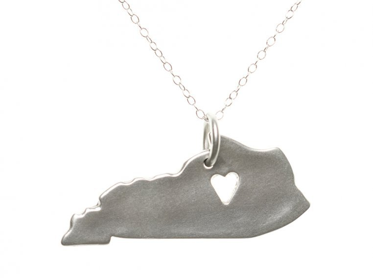 State Love Pendant Necklace by Precious Metal Prints - 20