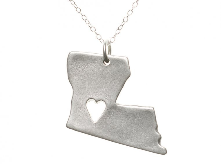 State Love Pendant Necklace by Precious Metal Prints - 21
