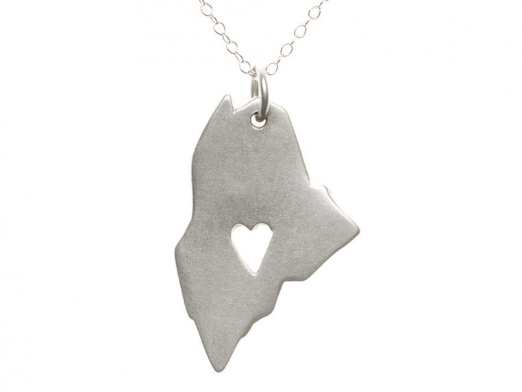 State Love Pendant Necklace by Precious Metal Prints - 22