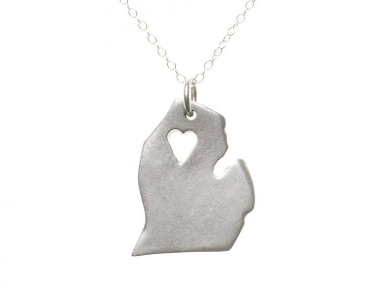 State Love Pendant Necklace by Precious Metal Prints - 25