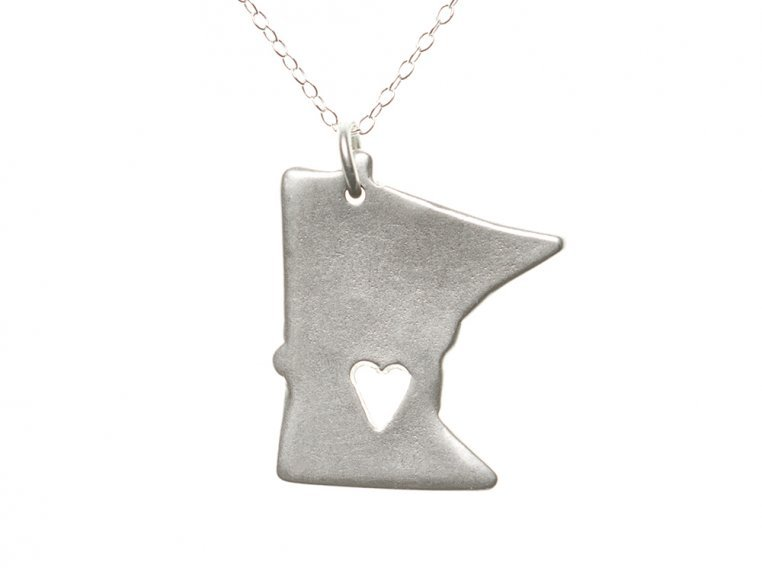 State Love Pendant Necklace by Precious Metal Prints - 26