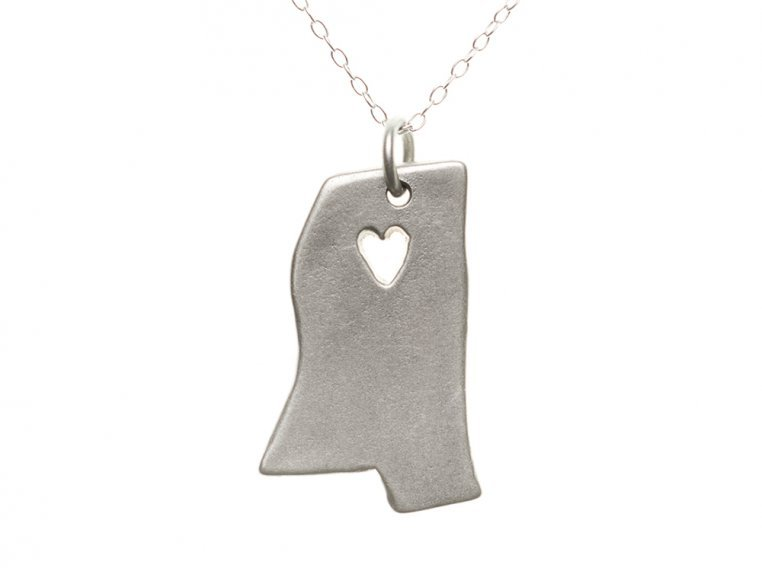 State Love Pendant Necklace by Precious Metal Prints - 27