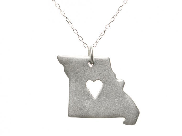 State Love Pendant Necklace by Precious Metal Prints - 28