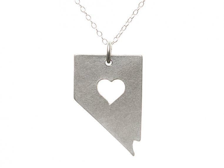 State Love Pendant Necklace by Precious Metal Prints - 31