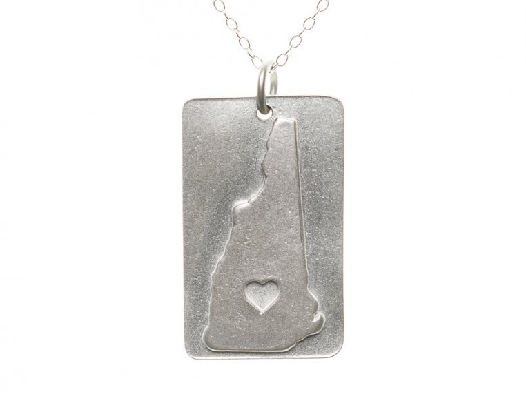 State Love Pendant Necklace by Precious Metal Prints - 32
