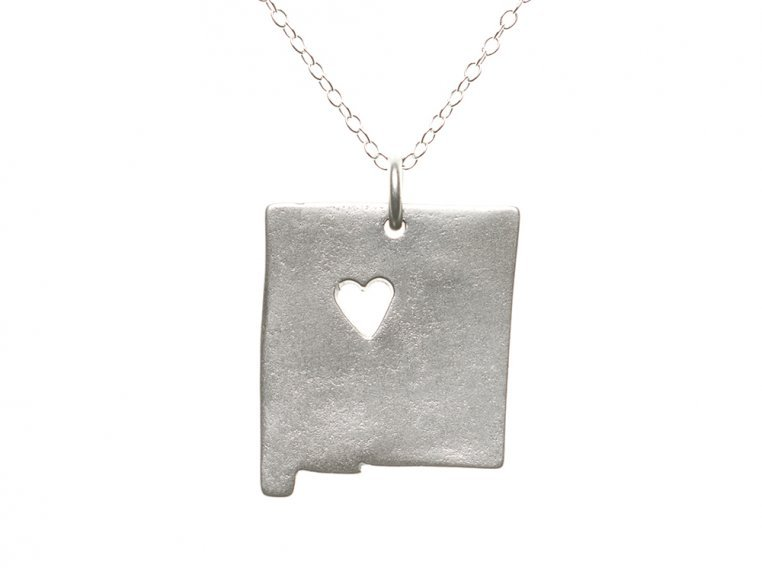 State Love Pendant Necklace by Precious Metal Prints - 34