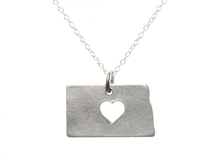 State Love Pendant Necklace by Precious Metal Prints - 36