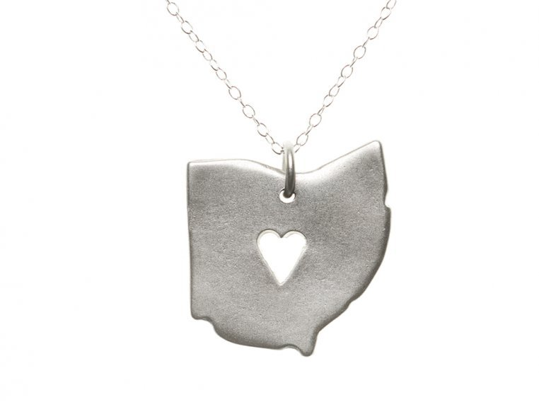 State Love Pendant Necklace by Precious Metal Prints - 38
