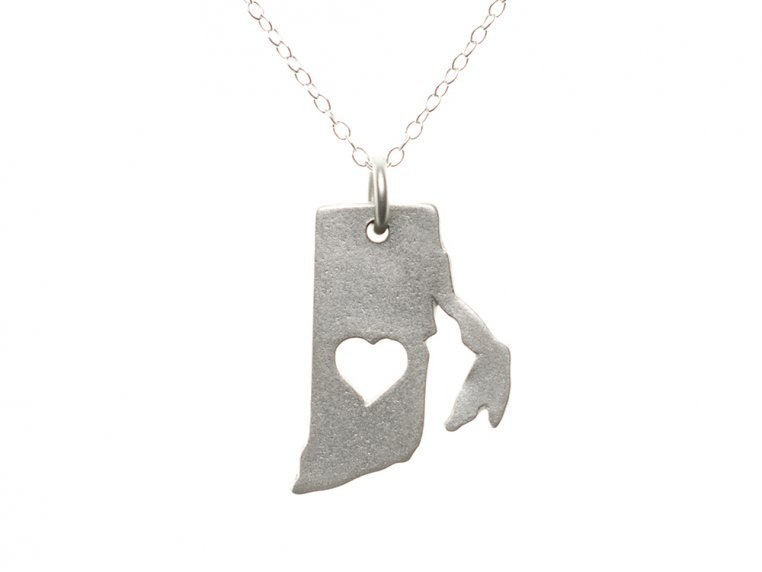 State Love Pendant Necklace by Precious Metal Prints - 42