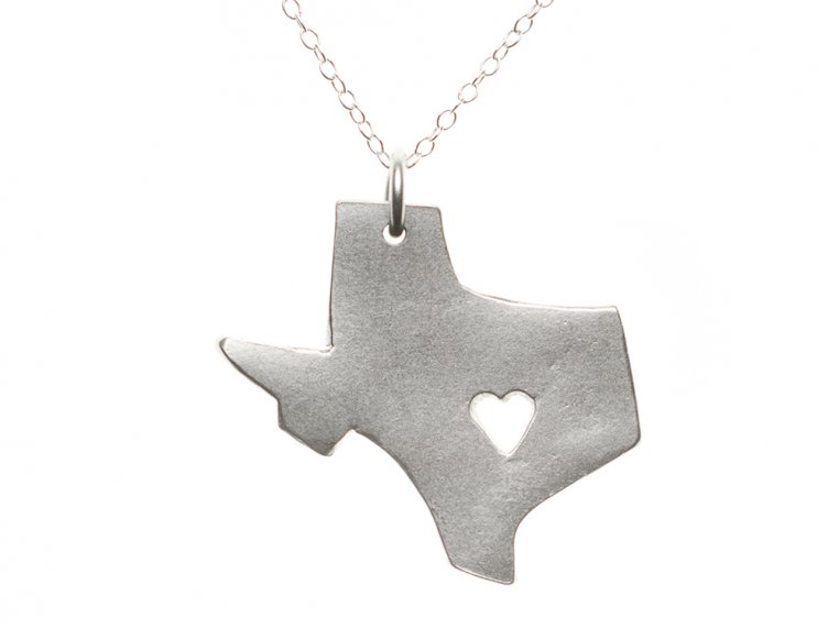 State Love Pendant Necklace by Precious Metal Prints - 46