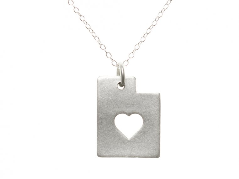 State Love Pendant Necklace by Precious Metal Prints - 47