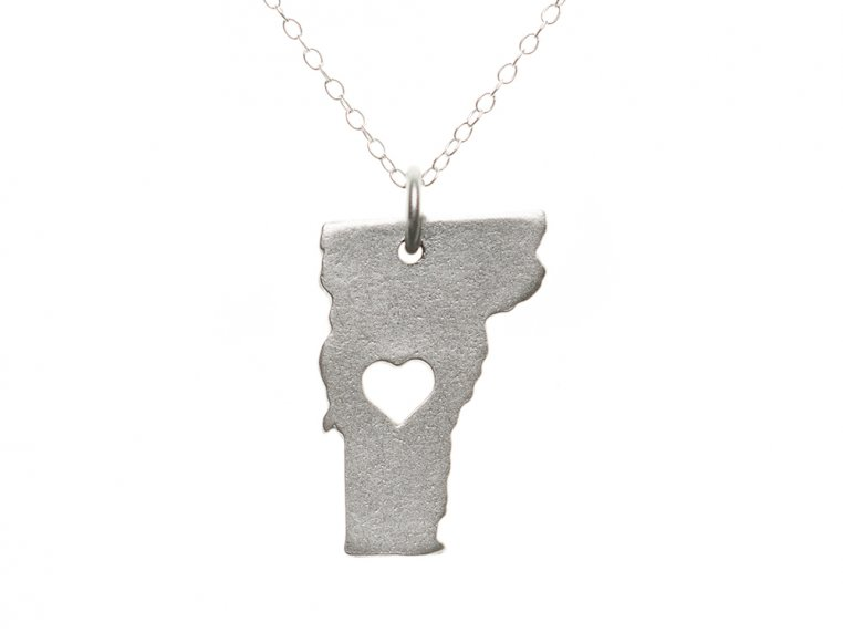 State Love Pendant Necklace by Precious Metal Prints - 48