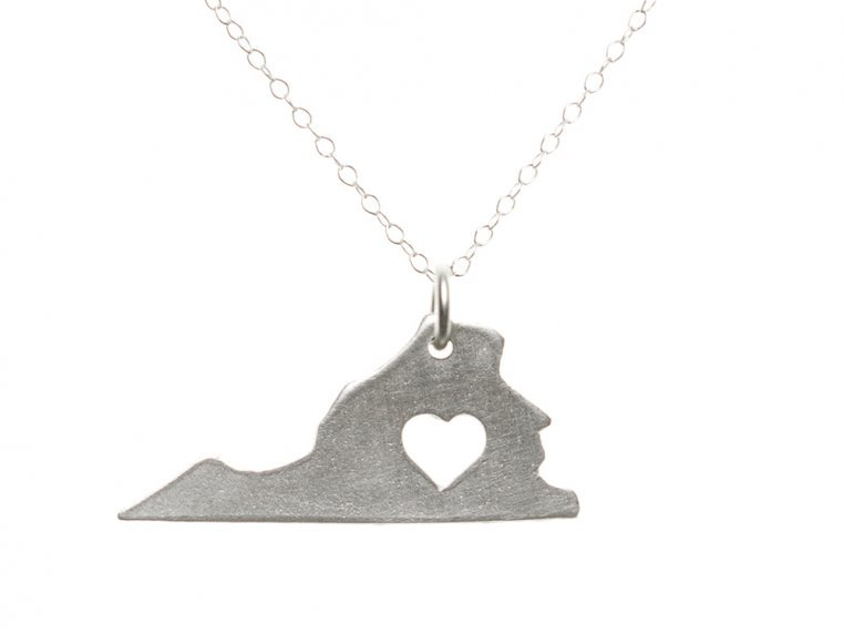 State Love Pendant Necklace by Precious Metal Prints - 49