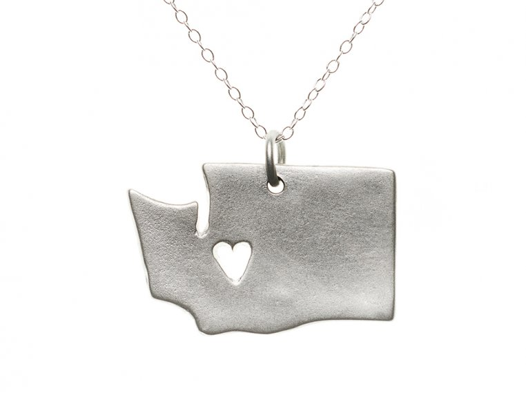 State Love Pendant Necklace by Precious Metal Prints - 50