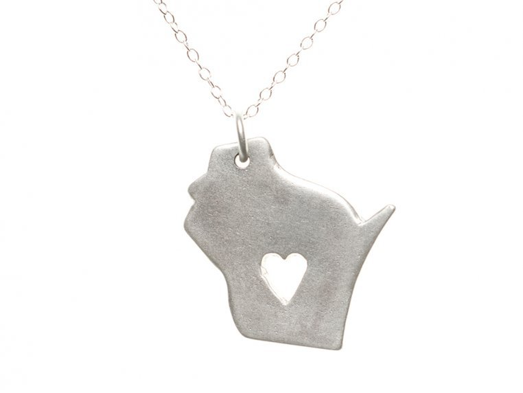 State Love Pendant Necklace by Precious Metal Prints - 52
