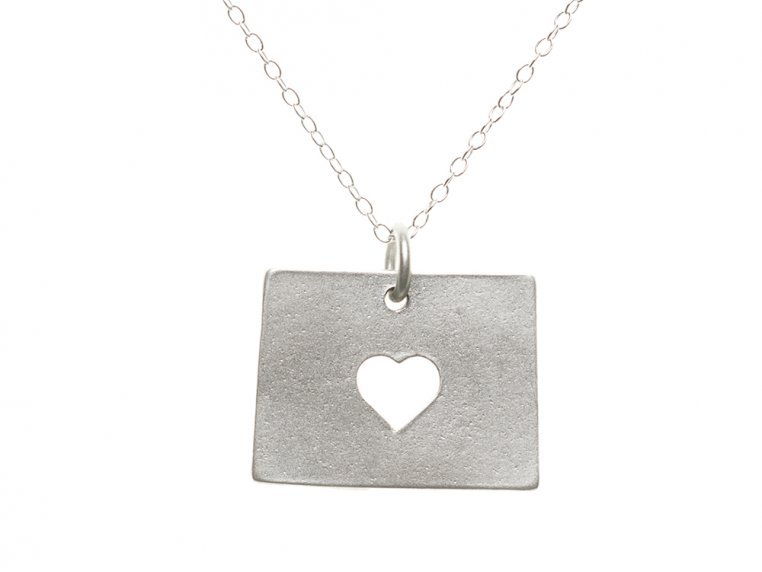 State Love Pendant Necklace by Precious Metal Prints - 53