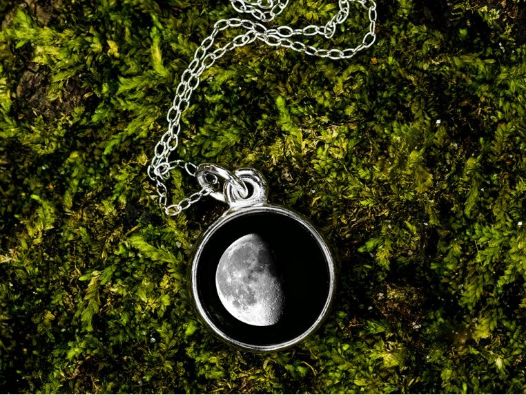 Custom Date Moon Phase Necklace - Simple Design by Moonglow - 1