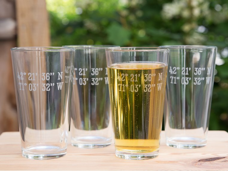 Sand Etched Latitude and Longitude Pint Glass by Susquehanna Glass Company - 1