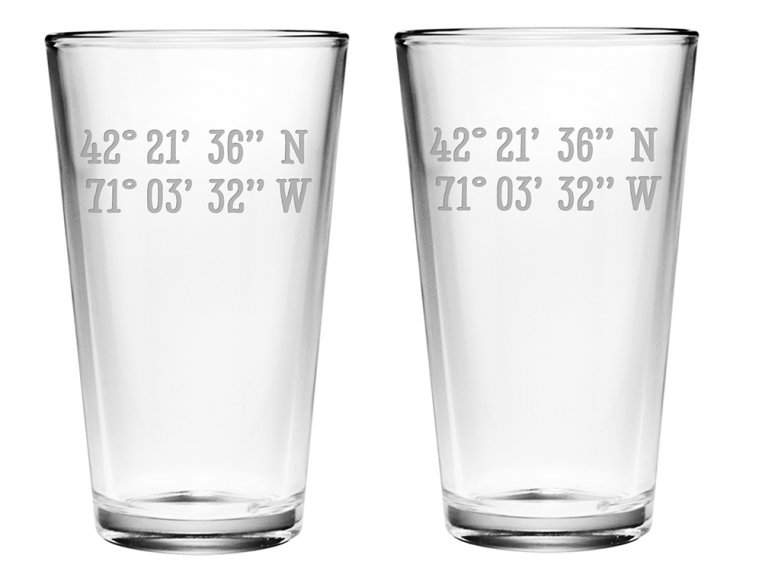 Sand Etched Latitude and Longitude Pint Glass by Susquehanna Glass Company - 2