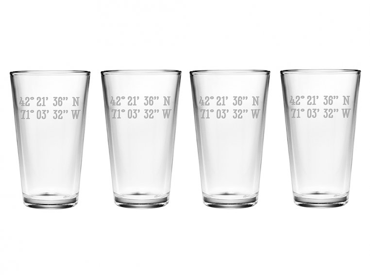 Sand Etched Latitude and Longitude Pint Glass by Susquehanna Glass Company - 3