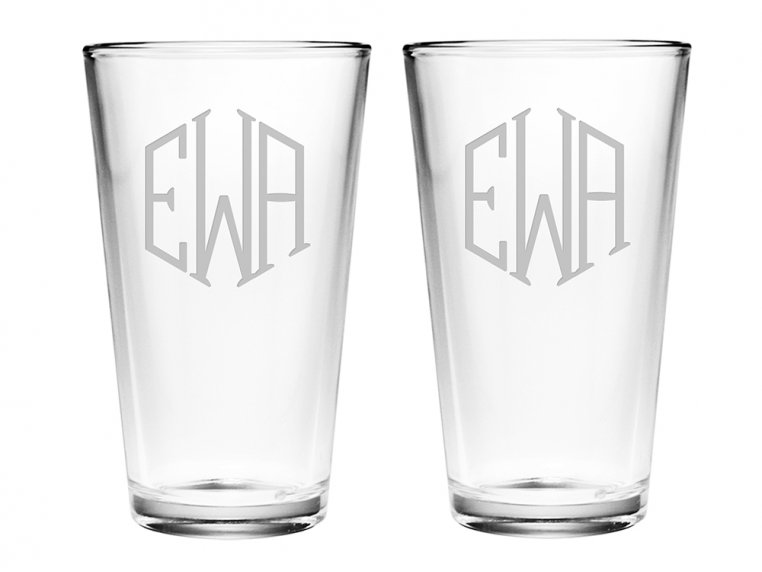 Hand Cut Monogram Pint Glass - Set of 2 by Susquehanna Glass Company - 2