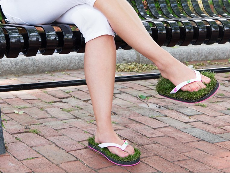 Synthetic Grass Sandals - White by Grass Flip Flops - 2