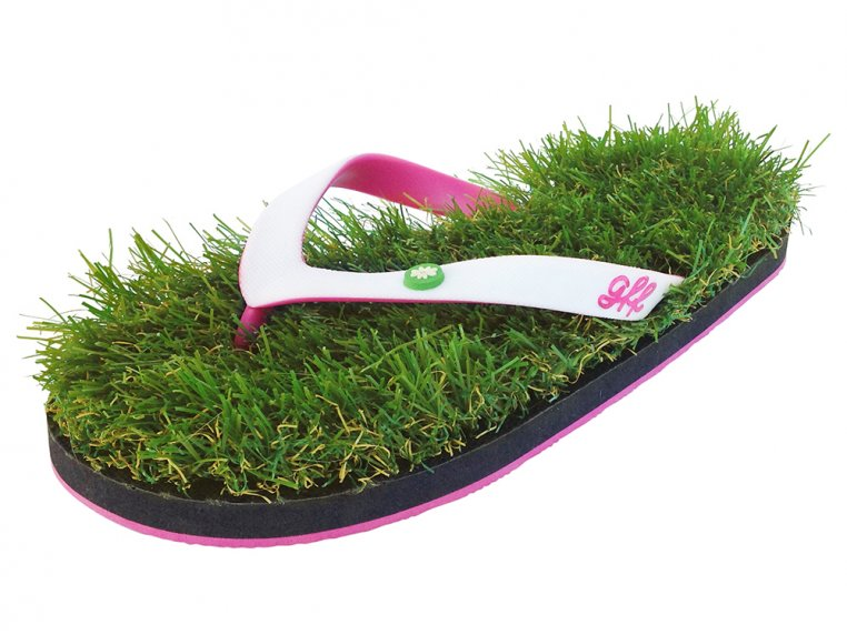 Synthetic Grass Sandals - White by Grass Flip Flops - 5