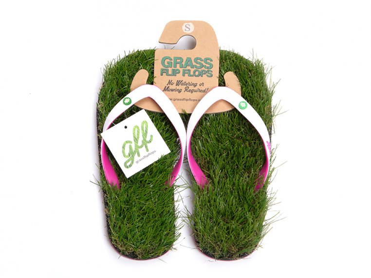 Synthetic Grass Sandals - White by Grass Flip Flops - 7