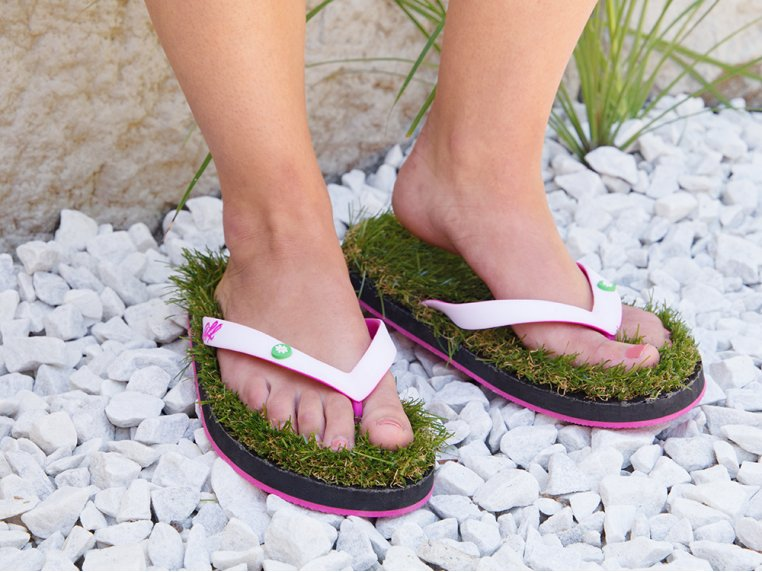 Synthetic Grass Sandals - White by Grass Flip Flops - 1