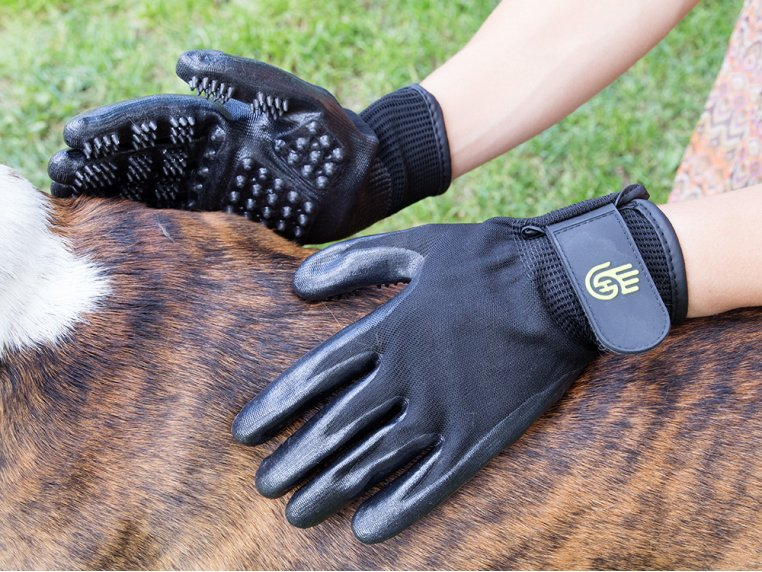 Grooved Pet Grooming Gloves by HandsOn Gloves - 1