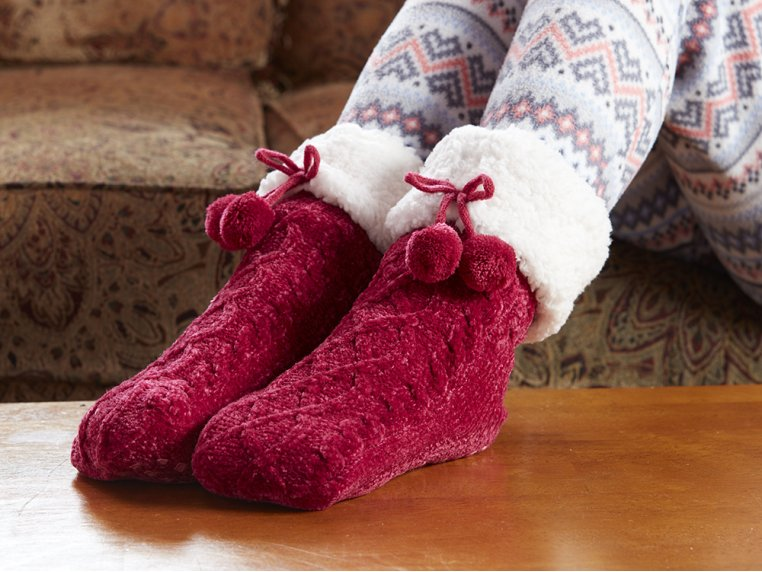 Chenille Cable Knit Slipper Socks by PUDUS - 1