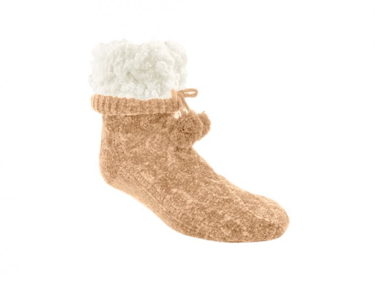 Chenille Cable Knit Slipper Socks by PUDUS - 4