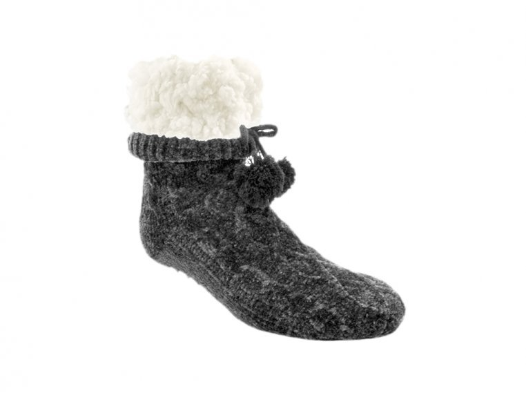 Chenille Cable Knit Slipper Socks by PUDUS - 3