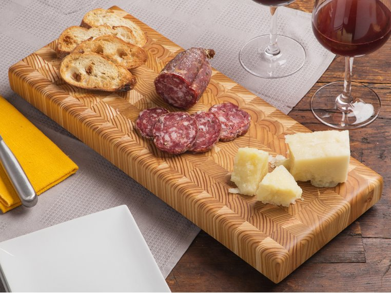 End Grain Double Cheese Board by Larch Wood - 1