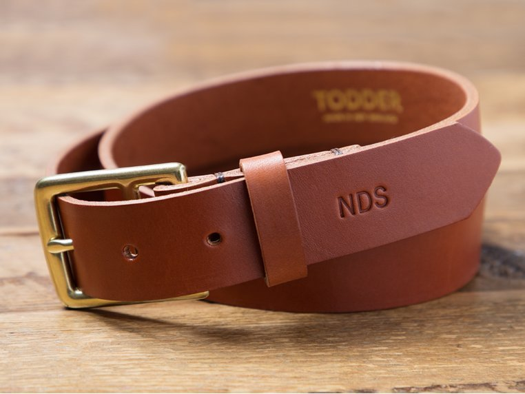 Men's Leather Belt with Monogram by Todder - 1