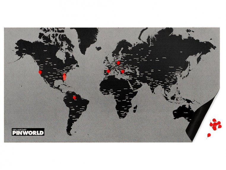 Felt World Map - Standard - Black by Palomar - 1