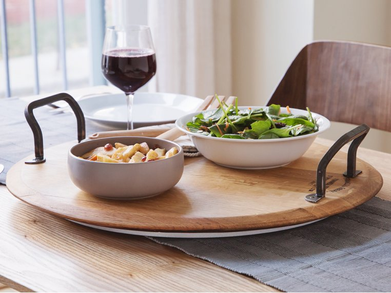 Rotating Wine Cask Serving Platter by Provence Platters - 1