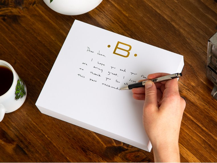 Gold Initialed Notepad Stationery by Black Ink - 1