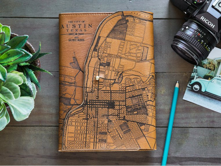 Etched Leather Map Journal by Tactile Craftworks - 1