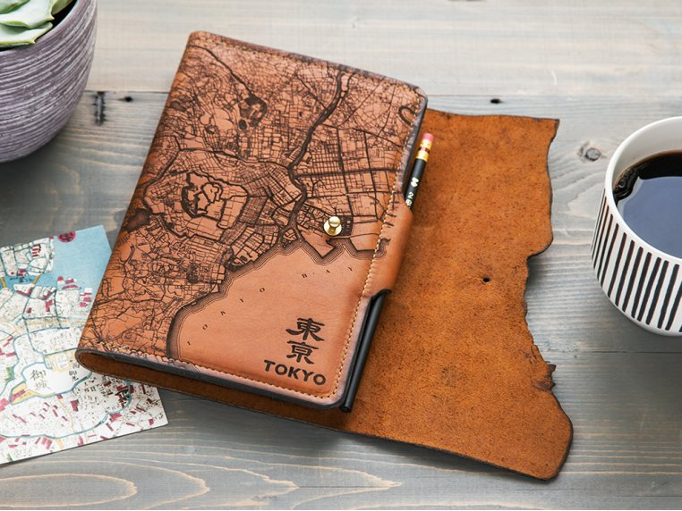 Etched Leather Map Journal - International Cities by Tactile Craftworks - 1