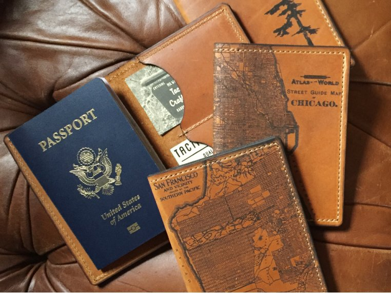 Etched Leather Map Passport Wallet by Tactile Craftworks - 3