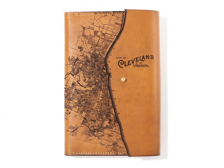 Etched Leather Map Journal - Cleveland, OH by Tactile Craftworks - 1